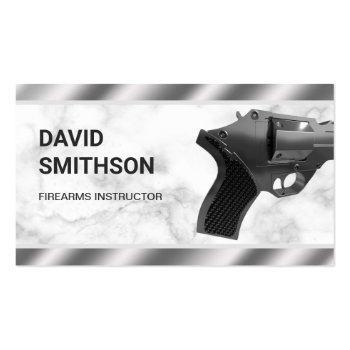 Small Marble Steel Revolver Gun Shop Gunsmith Firearms Business Card Front View