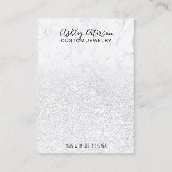 marble white glitter jewelry earring display chic business card