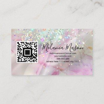 marbled makeup artist holographic glitter qr code business card