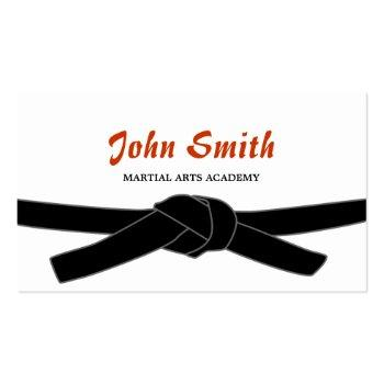 Small Martial Arts Black Belt Dojo Professional Business Card Front View