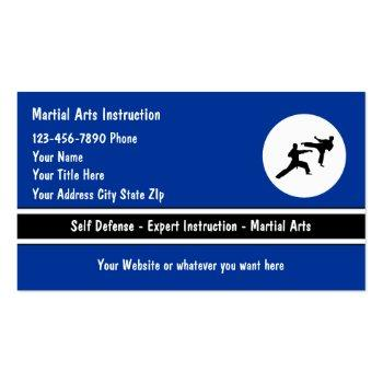 Small Martial Arts Business Cards Front View