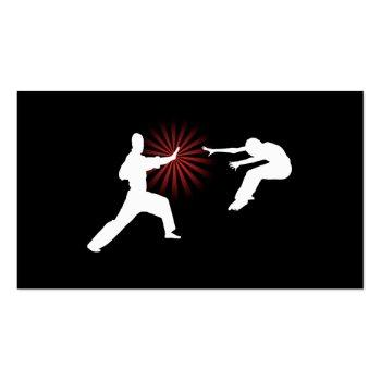 Small Martial Arts Energy Silhouette Business Card Back View