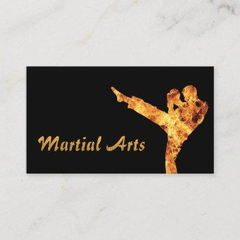 martial arts flaming fighter professional business card