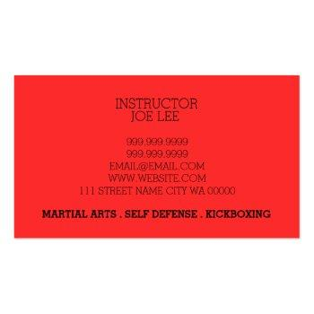 Small Martial Arts Karate Self Defense Business Card Back View