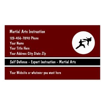 Small Martial Arts Self Defense Class Business Cards Front View