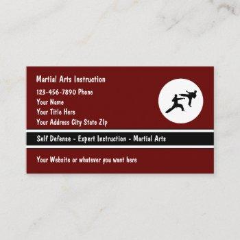 martial arts self defense class business cards
