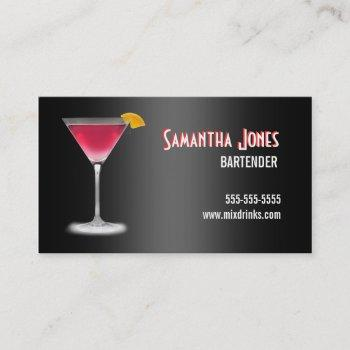 martini bartender business card