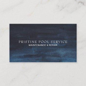 masculine dark navy blue watercolor wash business card
