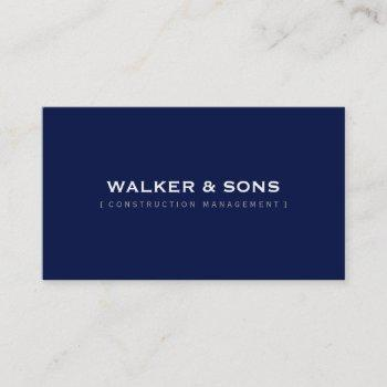 masculine plain simple smart dark navy blue business card