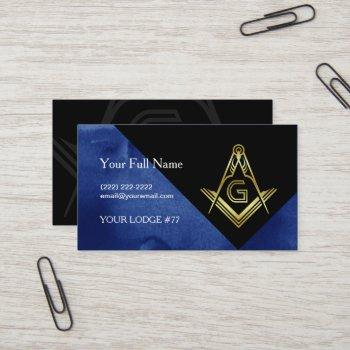 masonic business card designs | blue black & gold