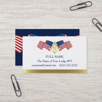 masonic business card template | american flag