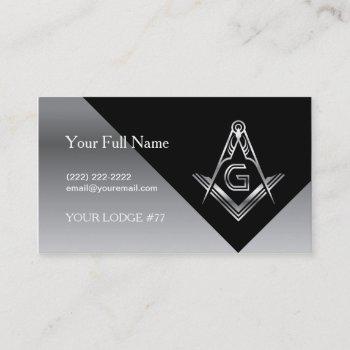 masonic business cards, silver & black freemasonry business card