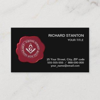 masonic wax seal business card