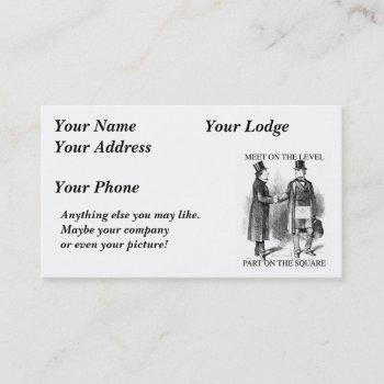 masons meeting name or business card