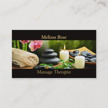 massage bamboo orchid stones candle business card