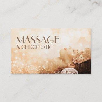 massage chiropractic body & soul therapy sparkling business card