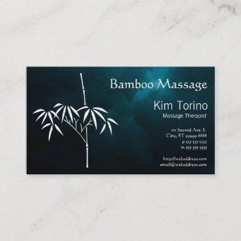 massage therapist bamboo dark clouds appointment business card