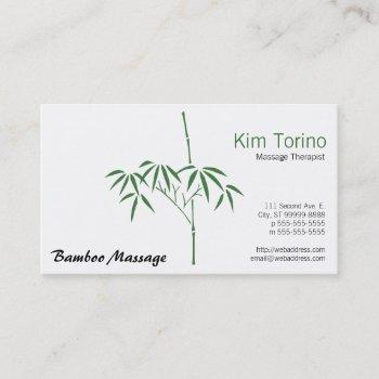 massage therapist garden bamboo business card