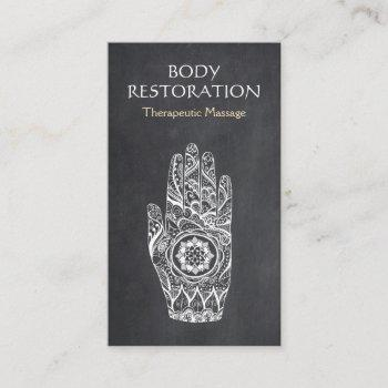 massage therapist henna lotus tattoo hand business card