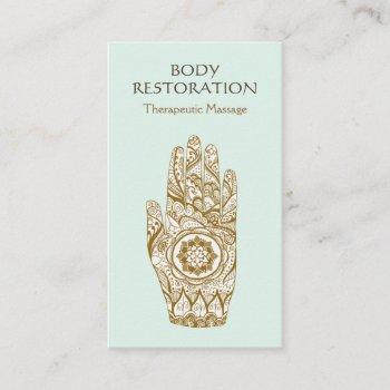 massage therapist logo henna lotus tattoo hand 2 business card