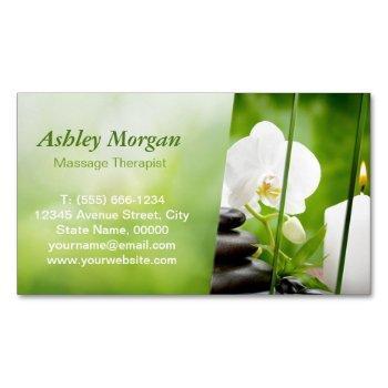 massage therapist meditation zen spa salon magnetic business card