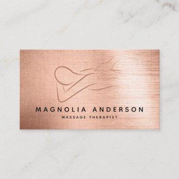 massage therapist rose gold foil brushed metal  business card