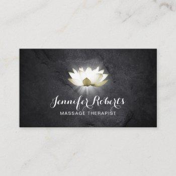 massage therapy elegant lotus healing salon business card