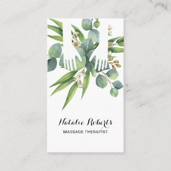 massage therapy healing hands botanical nature spa business card