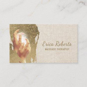 massage therapy healing hands reiki spa business card