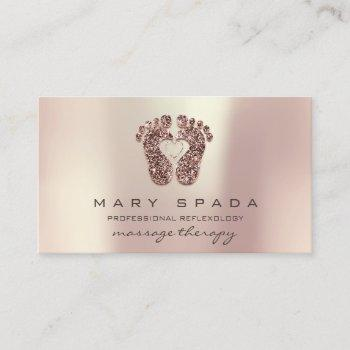 massage therapy reflexology feet reiki rose glitte business card