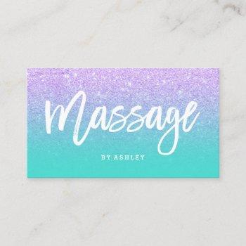 massage typography lavender glitter turquoise business card