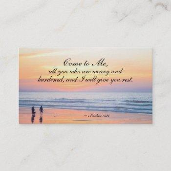 matthew 11:28 come to me all who are weary ocean business card