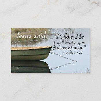 matthew 4:19 i will make you fishers of men, bible business card