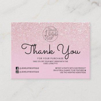 mauve pink glitter ombre customer thank you business card