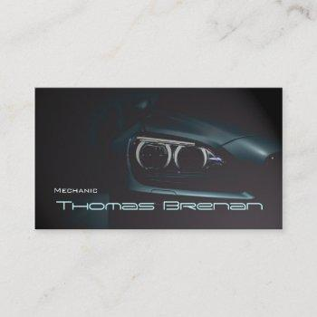 mechanic automotive black  lights front business card