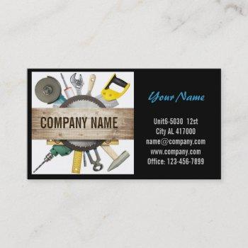 mechanical tools handyman carpentry construction business card