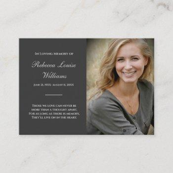 memorial card with photo funeral charcoal gray