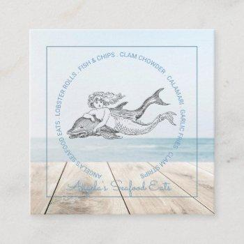 mermaid and dolphin sea food square business card
