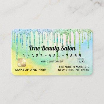 mermaid green holographic glitter drips credit business card