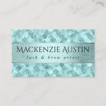 mermaid luxe branding | turquoise blue business card
