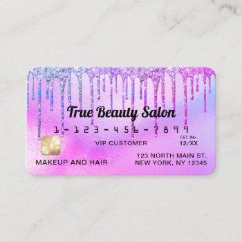 mermaid purple holographic glitter drips credit business card