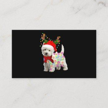 merry christmas xmas westie dog reindeer cosplay business card