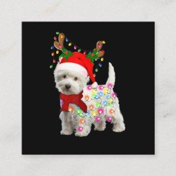 merry christmas xmas westie dog reindeer cosplay square business card