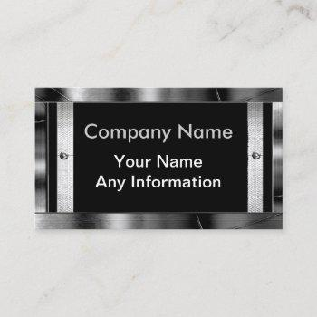 metal look frame border business cards