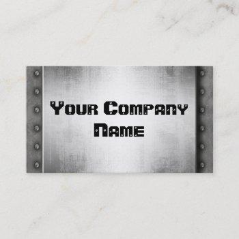 metal look with rivets border business cards