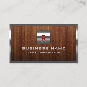 metal monogram steel border wood professional business card