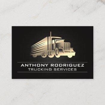 metal semi truck | driver | logistics deliveries  business card