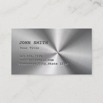 metallic faux stainless steel metal business card