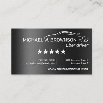metallic gray automobile service logo uber business card