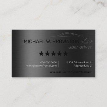 metallic gray silver minimal driver car auto uber business card